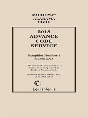 cover image of Michie's Alabama Advance Code Service