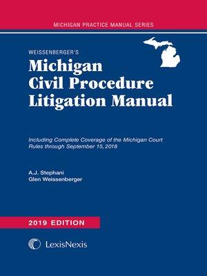cover image of Weissenberger's Michigan Civil Procedure Litigation Manual