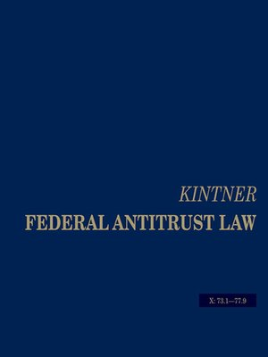 cover image of Kintner's Federal Antitrust Law