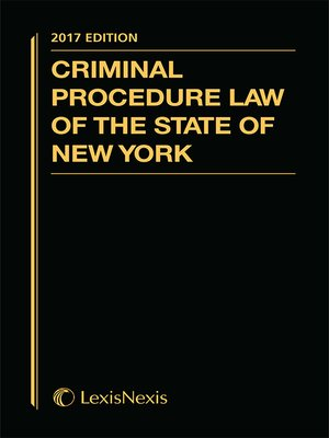 cover image of Criminal Procedure Law of the State of New York