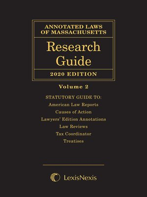 cover image of Annotated Laws of Massachusetts: Research Guide