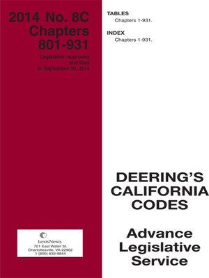 cover image of California Deering's Advance Legislative Service
