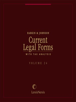 cover image of Current Legal Forms with Tax Analysis