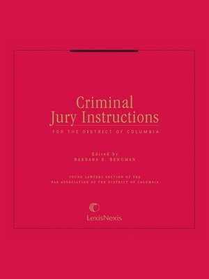 Criminal Jury Instructions For The District Of Columbia By Barbara