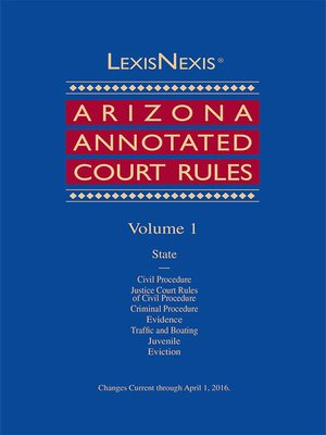 cover image of Arizona Annotated Court Rules
