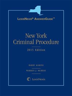 cover image of LexisNexis AnswerGuide: New York Criminal Procedure
