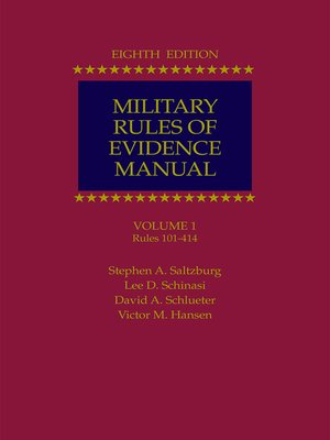 cover image of Military Rules of Evidence Manual
