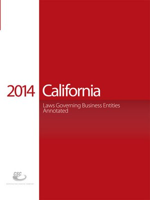 cover image of CSC® California Laws Governing Business Entities Annotated