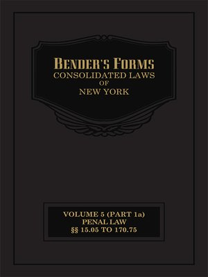 cover image of Bender's Forms for the Consolidated Laws of New York