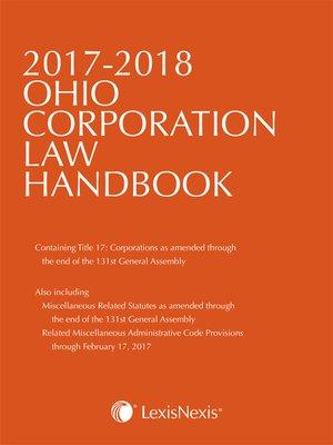 cover image of Ohio Corporation Law Handbook