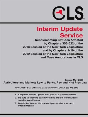 cover image of New York Consolidated Laws Service (CLS) Interim Update Service
