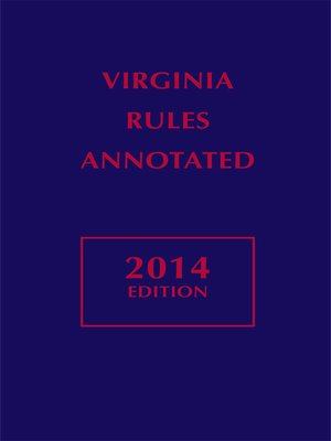 cover image of Virginia Rules Annotated