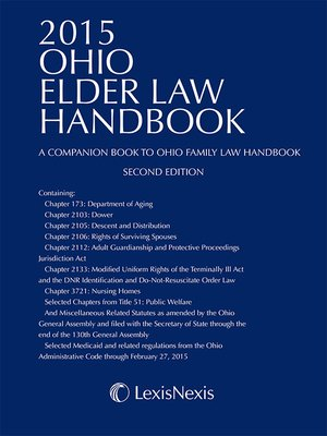 cover image of 2015 Ohio Elder Law Handbook — A Companion Book to Ohio Family Law