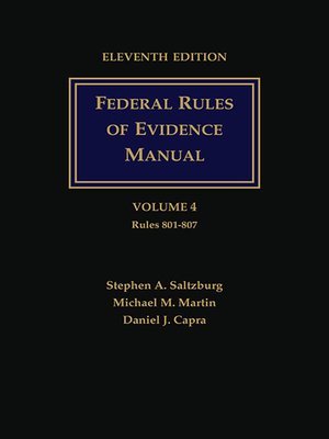 cover image of Federal Rules of Evidence Manual