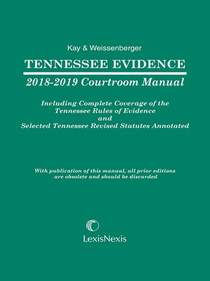 cover image of Tennessee Evidence Courtroom Manual