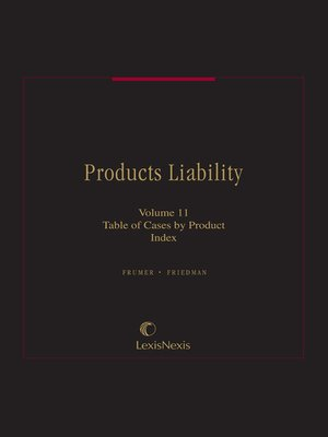 cover image of Frumer & Friedman, Products Liability