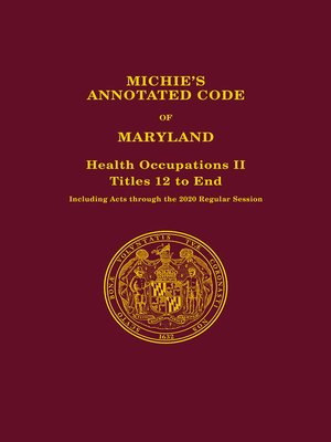 cover image of Michie's Annotated Code of Maryland