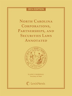 cover image of North Carolina Corporations, Partnerships and Securities Laws Annotated