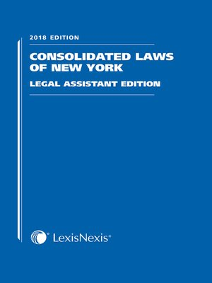 cover image of Consolidated Laws of New York, Legal Assistant Edition