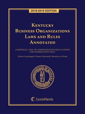 cover image of Kentucky Business Organizations Laws and Rules Annotated