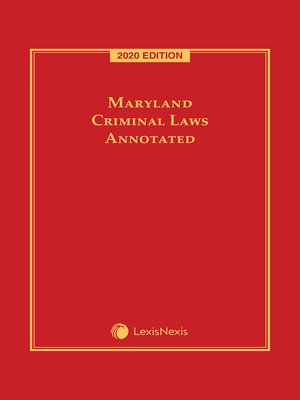 cover image of Maryland Criminal Laws Annotated