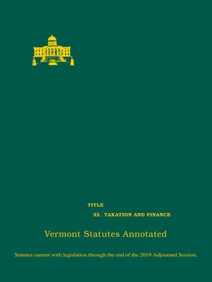 cover image of Vermont Statutes Annotated
