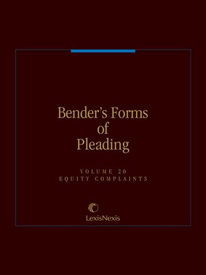 cover image of Bender's Forms of Pleading