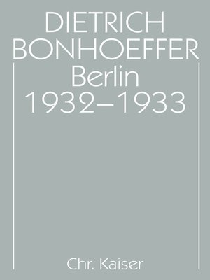 cover image of Berlin 1932-1933