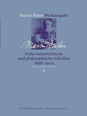 cover image of Frühe kulturkritische und philosophische Schriften (1891-1924)
