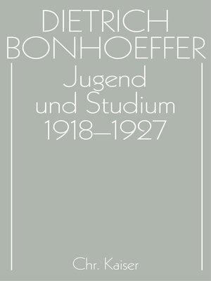 cover image of Jugend und Studium 1918-1927