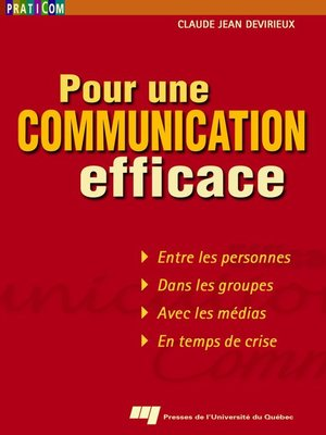 cover image of Pour une communication efficace