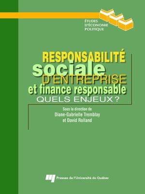 cover image of Responsabilité sociale d'entreprise et finance responsable