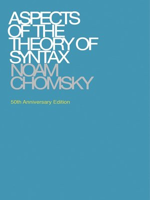 cover image of Aspects of the Theory of Syntax