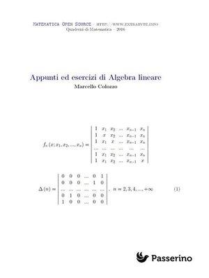 cover image of Appunti ed esercizi di Algebra Lineare