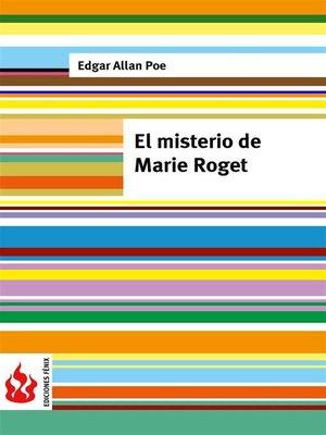 cover image of El misterio de Marie Roget (low cost). Edición limitada