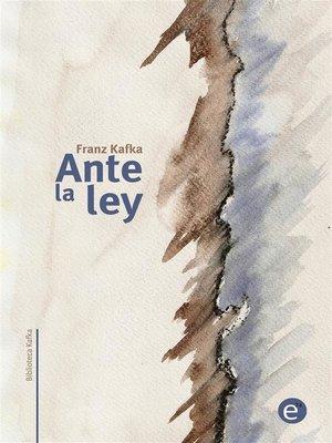 cover image of Ante la ley