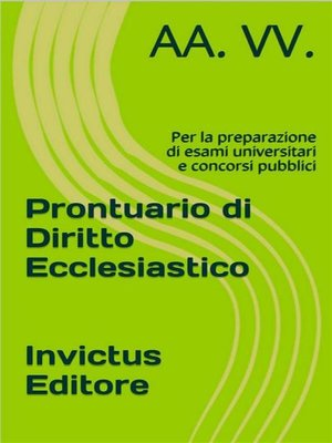 cover image of Prontuario di diritto ecclesiastico