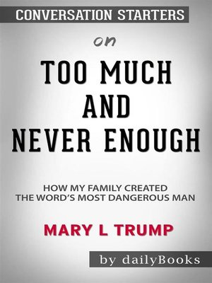 cover image of Too Much and Never Enough--How My Family Created the World's Most Dangerous Man by Mary L. Trump--Conversation Starters