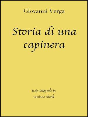 cover image of Storia di una capinera di Giovanni Verga in ebook