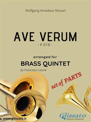 cover image of Ave Verum by Mozart--brass quintet--set of PARTS