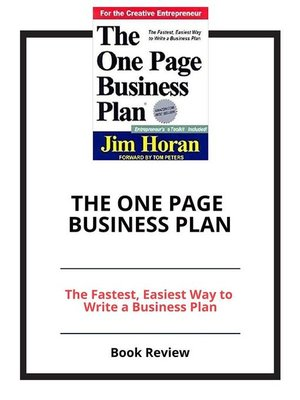 front page of a business plan