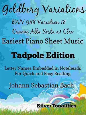 cover image of Goldberg Variations BWV 988 Variation 18 Canone alla Sesta a1 Clav Easiest Piano Sheet Music