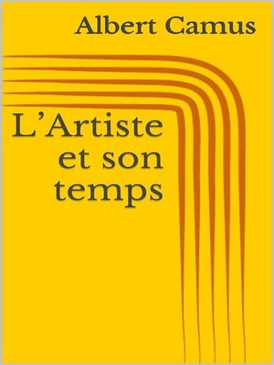 cover image of L'Artiste et son temps