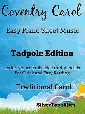 cover image of Coventry Carol Easy Piano Sheet Music Tadpole Edition