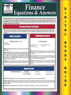 cover image of Finance Equations & Answers ( Blokehead Easy Study Guide)