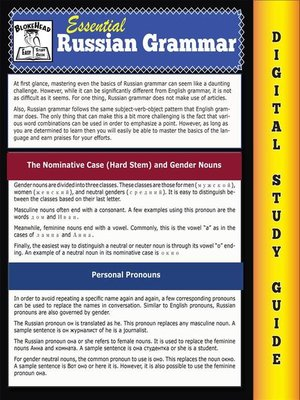 cover image of Russian Grammar ( Blokehead Easy Study Guide)