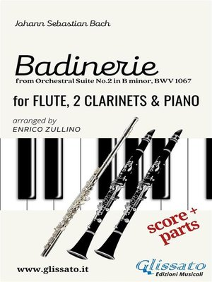 """cover image of """"Badinerie"""" for Flute, 2 Clarinets and Piano (score & parts)"""