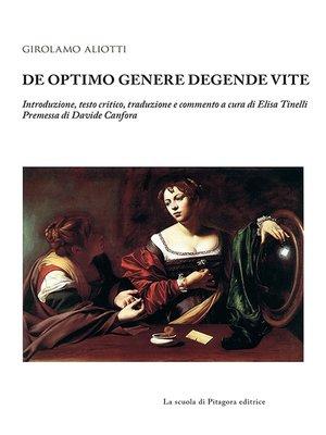 cover image of De optimo genere degende vite