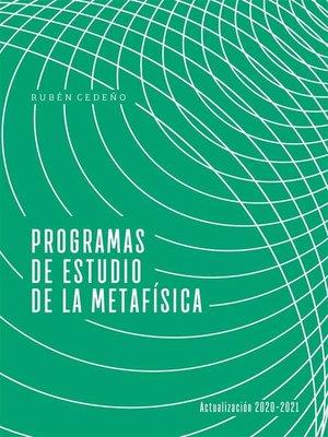 cover image of Programas de Estudio de la Metafísica