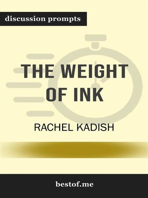 "cover image of Summary--""The Weight of Ink"" by Rachel Kadish 